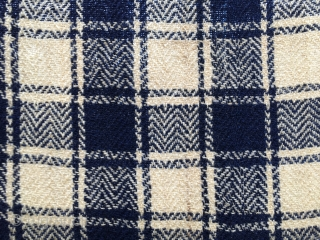 Shahsavan (Mianeh?) jajim/blanket. Cm 215x215 ca. Late 19th, early 20th c. Four widths sewn together. Checkered pattern. Very fine wool. Very fine weave. Natural white and indigo blue dyed wool. Two weaker  ...