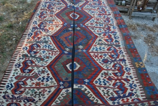 Aydin kilim. Western Anatolia. 2 pcs. Cm 325x185 Antique, wonderful colors, in very good condition. See more pics on fb:  http://www.facebook.com/media/set/?set=a.10151195965754258.507066.358259864257&type=3 This is a great, special kilim with fantastic colors and a wonderful pattern.  ...