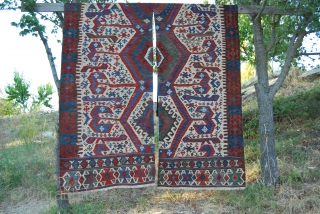 Aydin kilim. Western Anatolia. 2 pcs. Cm 325x185 Antique, wonderful colors, in very good condition.