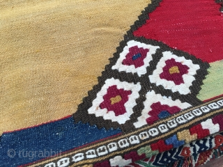 Manastir kilim. Cm 66x99. Sweet, small, proportioned, natural dyed jewel. Early 20th c., or? Was it a yastik? Great cochineal, nice indigo, blueish green, weakened yellow, madder red..... Some rust spots to  ...