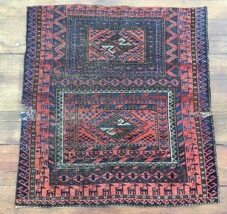 Baluchi rug fragment. Cm 60x66. Early 20h c. Very fine weave. Lovely colors & pattern. Sweet fragment. The owner of this rug, after several glasses of raki decided to slaughter all the  ...