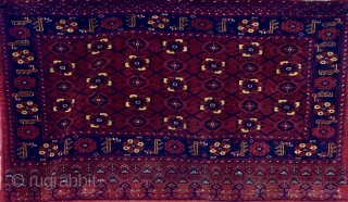 This is the biggest cuval I have ever seen. It's a Turkmen Beshir with Mina Khani design. Size is cm 100x180 and 180x192 open. Late 19, early 20th century in my opinion.  ...