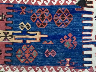 Eastern Anatolia Sinanli tribal group kilim strip. Cm 320x75 circa. Wonderful natural saturated colors, a real benchmark for dyes of that area, roughly 1870/1880. Full pic on request. Obviously not cheap. P.S.  ...