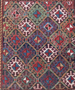 Shahsavan sumack bag face. Cm 59x61 ca. End 19th c. All good colors. In good cond. A masterpiece.