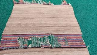 Central anatolian konya camel wool striped kilim Size=250x95 cm
