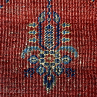 Antique Kula prayer rug, 172x92cm, goat hair warps, all natural colours.