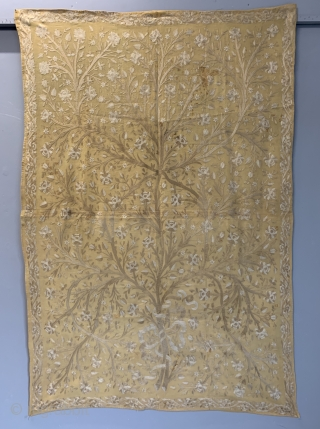 Turkish Ottoman or Ottoman provinces silk chain stitch embroidery handing on a fine yellow wool ground. Lined with glazed cotton late 19th cent • 195 x 132 cm / imperial size 6ft  ...