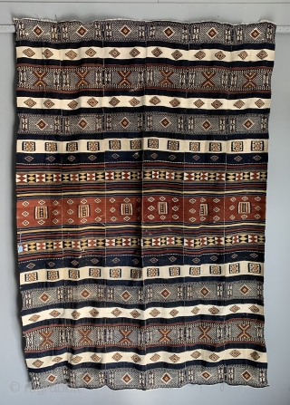 "West African Arkilla tent divide fragment from Timbuktu Mali. . Made out of six vertical panels the fragment now 210 x 140 ( 6ft * x 4ft 7 "" ) is about  ..."