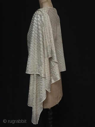 """Egyptian Assuit silvered metal wrapped shawl on gauze. size approx 210 cm / 7ft x 54 cm / 1ft 8"""". made by the Coptic community in Upper Egypt to acclaim in Roaring  ..."""