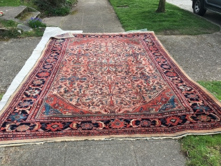 8feet 1 by 11ft 6 mahal in excellent condition as is some even scattered wear in field otherwise good pile through out original condition  very floppy