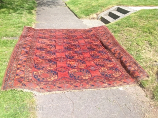 Thick piled old ersari main carpet  Size is 7ft4 x 9 ft Inquire for more photos Low price