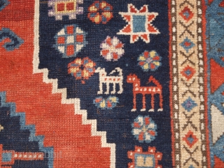 Antique South Caucasian Karabagh or Armenian Kazak rug with triple linked medallion with a X box border. www.knightsantiques.co.uk   Size: 7ft 7in x 4ft 1in (230 x 125cm).  Circa 1900.  A superb example of a  ...