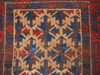 Antique Baluch rug with superb colour. www.knightsantiques.co.uk  Size: 4ft 11in x 2ft 8in (150 x 82cm).  Circa 1880.  A very good example of a tribal Baluch rug from the 19th century, the camel  ...