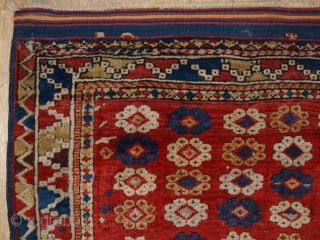 Antique Turkish Bergama rug of small square size, the rug has an interesting all over floral rosette design. www.knightsantiques.co.uk  Size: 4ft 3in x 4ft 0in (130 x 122cm).   2nd half 19th century.  The rug  ...