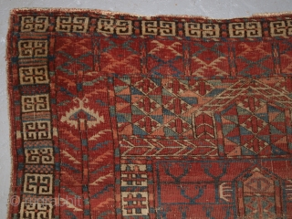 Antique Tekke Turkmen Ensi of very early form. www.knightsantiques.co.uk Size: 4ft 11in x 3ft 5in (150 x 104cm).   1st half 19th century.  Early Tekke ensi are quite scarce and this example despite its  ...