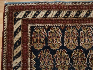 Antique 'Jail' Agra rug with all over large boteh design. www.knightsantiques.co.uk Size: 7ft 11in x 5ft 1in (241 x 155cm).   Circa 1870/80.  These rugs were woven in the prisons of Agra, India during  ...