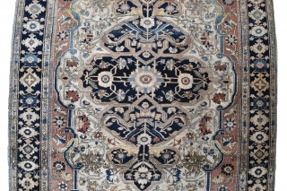 A fine antique Moteshem Kashan rug. Finely made with the beautiful wool and weave synonymous with the master weaver. Some corrosion/low pile, some small holes to ends Professionally conserved) remnants of original  ...
