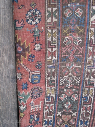 """Antique Kurdish Rug  --  All Natural dyes with nice graphics; One end has been rewoven  --  3'4"""" x 5'5"""""""