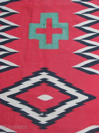 "Navajo - 1870's - Germantown - No color run; Rough ends & sides-see photos - 2'4"" x 10'6"" - A Rare size for a Germantown."