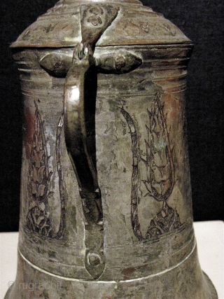 """Early Ottoman tankard, with lid. Hammered, tinned, copper. 9"""" H. 17th/18th C."""