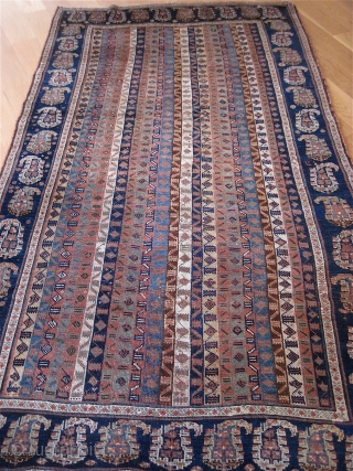 Attractive older Khamseh, 4.2 x 7.4, fine weave, low, but glossy wool pile on wool foundation. Great colors. Floppy handle. Some minor restorations visible from the back.