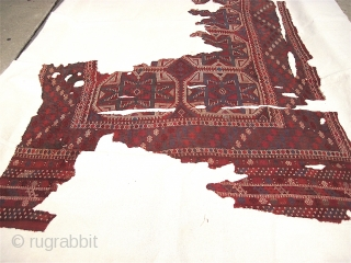 Large and impressive early Turkish Zili carpet fragment with amazing colors, intricate drawing and fantastic details. 18th C. Approx 6' x 8' (fragment only, mounting is larger).  Yes, the beauty is  ...