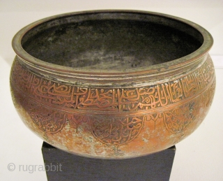 """Large, early, tinned copper vessel, inscribed. Probably Central Asia, 16th/17th C.  11""""D x 6""""H. For a comparable example, see:  Uzbekistan, Kalter & Pavaloi, pg. 120, fig 192."""