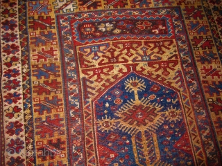 Anatolian Makri Prayer Rug late 19th C Great Colors  44 inches by 73 inches, evenly short pile, unusual  design.