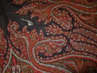"""Appx 63"""" x 66"""" kashmere Paisley Shawl Exc. Condition Hand stitched border, fantastic colors and drawing signed illegibly. No real visible wear. Please Ask for info."""