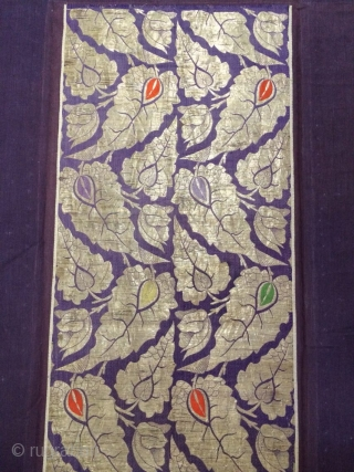 19th cent Uzbek Bucharan region Brocade Panel. Excellent gold & silk stitches (brocading). Spectacular colours and good condition.
