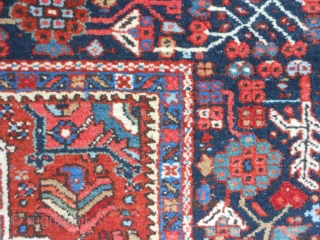 Persian Karaja, early 20th century, 4-8 x 6-3 (1.42 x 1.90), good pile, very good condition, rug is clean, ends overcast, original edges, plus shipping.