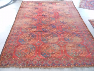 Ersari Turkoman, late 19th century, 6-10 x 9-0 (2.08 x 2.74), rug was washed, original ends and edges, missing most of kilim ends, wear, great colors, floppy handle, good pile in areas,  ...