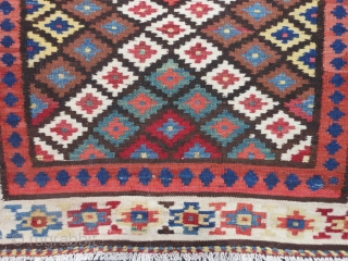 Persian Saveh Kilim, early 20th century, 3-3 x 13-4 (.99 x 4.06), very good condition, rug is clean, closed dovetail tapestry weave, strong and tight, reversible, great colors, plus shipping.