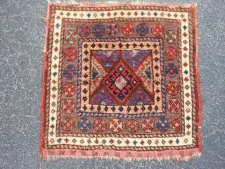 Persian Jaf Kurd bag face, late 19th century, 1-10 x 1-10 (.56 x .56), rug was hand washed, good condition, full pile, plus shipping.