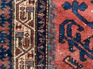 Persian Hamadan, early 20th century, 2-9 x 4-2 (84 x 127), rug was hand washed, wear, minor end loss, decent pile, interesting design, high definition pics available, plus shipping.