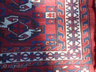 Turkman Yomud Chuval, early 20th century, 2-6 x 3-11 (.76 x 1.19), very good condition, full pile, fine weave, rug was hand washed, plus shipping.