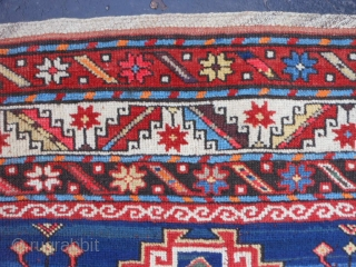 Caucasian Kazak, circa 1900, 4-4 x 8-8 (1.32 x 2.64), good condition, good pile, original ends and edges, natural and synthetic dyes, rug was washed, browns oxidized, few moth bites, one end  ...