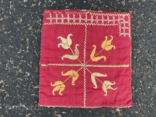 "Afghan purse,  early 20th century,  6"" x 6"" (15 x 15),  both sides different,  cotton/silk,  plus shipping."