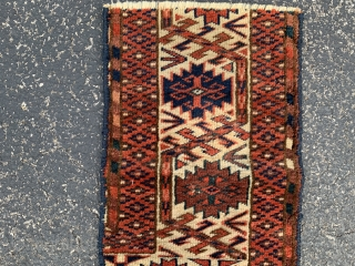 "Teke main carpet fragment, late 19th century,  10"" x 1-6 (25 x 46),  good pile, rug was hand washed, plus shipping."