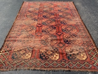 Ersari, late 19th century,  6-11 x 8- 11 (211 x 272),  rug was hand washed,  good pile areas - worn areas,  super colors,  plus shipping.