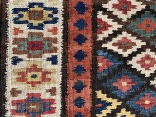 Persian Saveh Kilim,  early 20th century,  3-4 x 13-4 (102 x 406),  rug was washed,  very good condition, reversible,  strong and tight,  closed tapestry weave,   ...