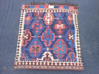 Persian Veramin Kilim bag, late 19th century, 2-1 x 2-4 (.64 x .71), good condition, slit taperstry weave, needs wash, see last pic back was shortened by 2 inches, plus shipping.