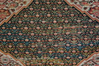 Senneh Kilim.  19th Century.  Wonderful mahi/Herati/fish designs throughout. Some duck head green in the central medallion.  Subtle colors.  Very poised composition.  The top left corner is a  ...