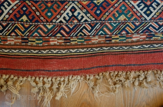 Kordi Sofra Kilim, Late 19th Century.  Incredible colors.  Playfully wide variety of designs in fingers.  A wonderful example.  75 x 216 cm.