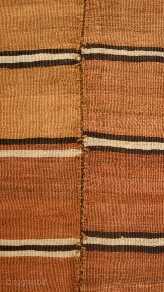 Hashtrud Group Shahsavan Kilim, Late 19th Century. Double panel in banded natural dyes. Wonderful muted colors resonating simplicity.  A great tribal piece. 180 x 340 cm