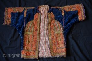 Greek jacket, Late 19th Century.  Very detailed silk and metallic embroidery/cord stitching work on blue velvet cloth. Natural dyes.  Inner lining is an original cotton flannel cloth.  Note the  ...