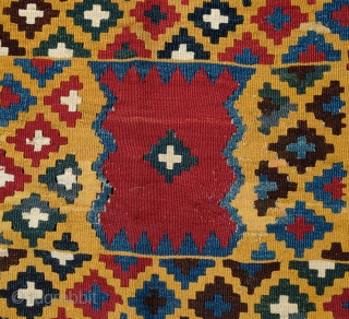 Qashaqa'i yellow ground kilim, Late 19th/Early 20th Century.  Fabulous saturated natural colors.  A stunning piece.  160 x 258 cm.