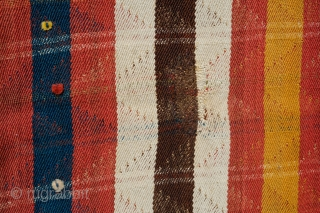Qashqa'i Mowj, Late 19th Century. All good colors. Small tufts of wool decorating the field. Wonderful twill weave. A small repair in one of the brown stripes as seen in the 5th  ...