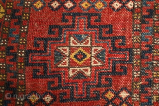 Karakalpak Turkmen Napramatsch, late 19th or early 20th century.  Great design.  It has a small area of moth damage and a stitched tear next to it.  It has great  ...