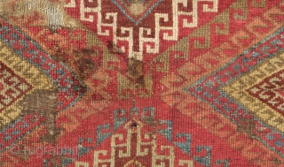Adiyaman Kurdish Rug, 1820-40s.  The incredible border is in a myriad of variations of Memling gul motifs.  The back of the rug has a flattened look which suggests its age.  ...
